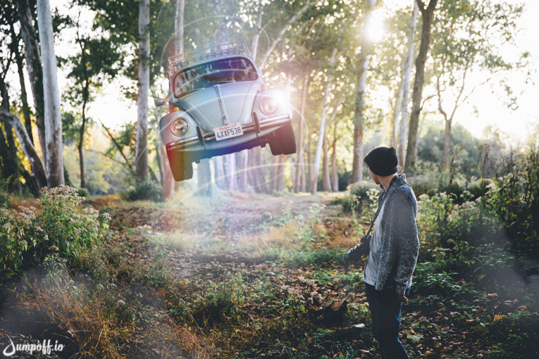 floating car in forest