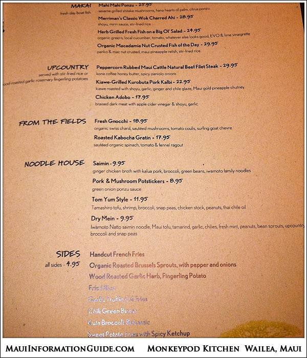 Monkeypod Kitchen Wailea Menu - Maui Bloggers Zone