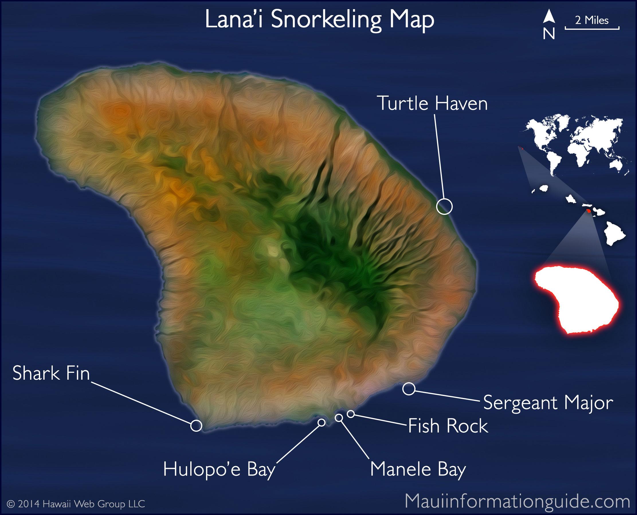 Lana 39 I Snorkeling Map Lanai Island Maui County Hawaii
