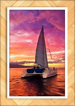 sailboat with sunset in the background