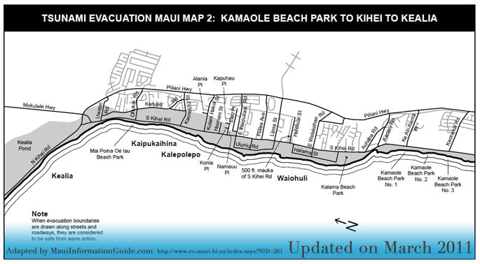 Maui Tsunami Evacuation Routes by region of Maui Hawaii.
